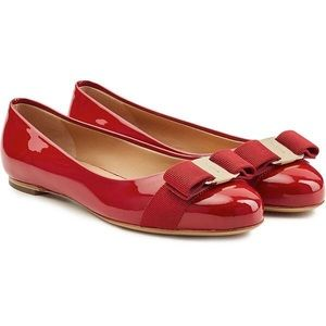 "Salvatore Ferragamo ""Varina"" Red Leather Flats 37"